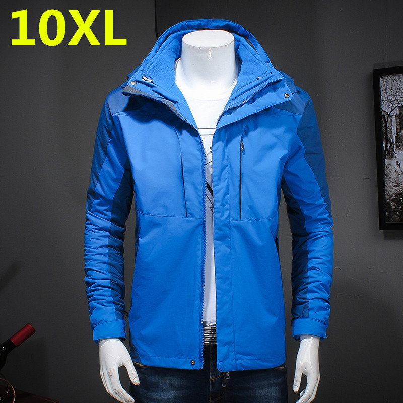 Plus Size 8XL 7XL 6XL 5X Brand Clothing New Style Winter Dress Men Windbreaker Jackets And Coats 3 In 1 Liner And Hat Detachable