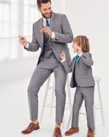 Kids Grey Suits Fashion Family Matching Suit Formal Tuxedo Groom Wedding Suits For Boy Party Prom Blazer Suit