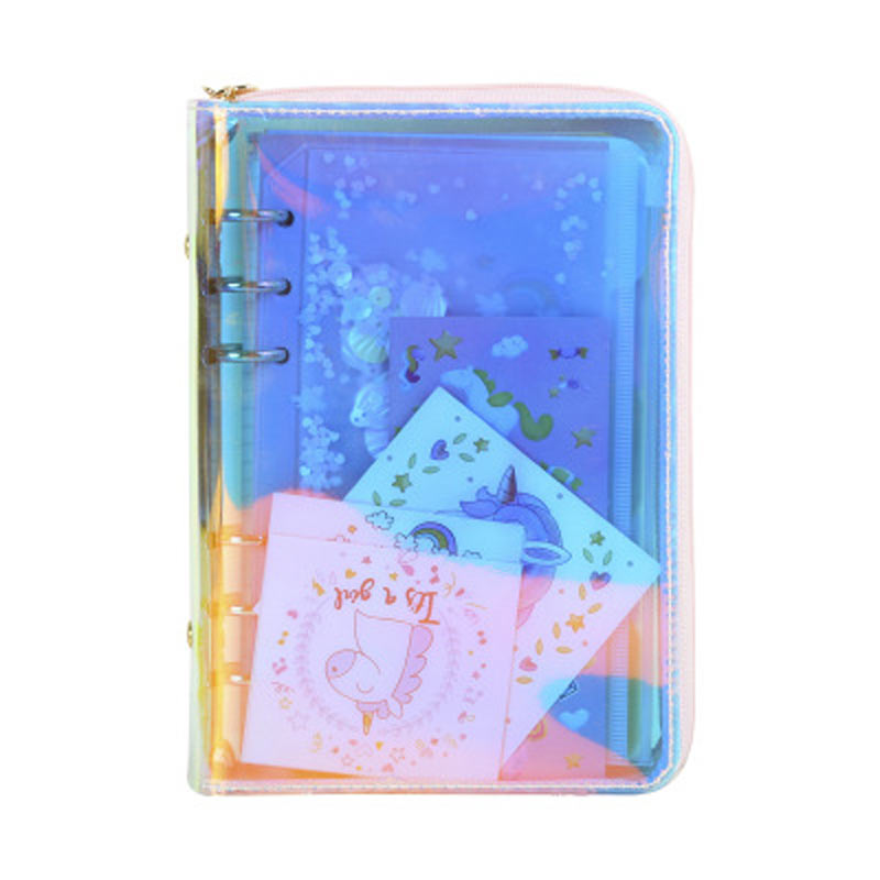 A6 Zip Bag Transparent Loose Leaf Binder Notebook Inner Core Cover Note Book Planner Office Stationery Supply