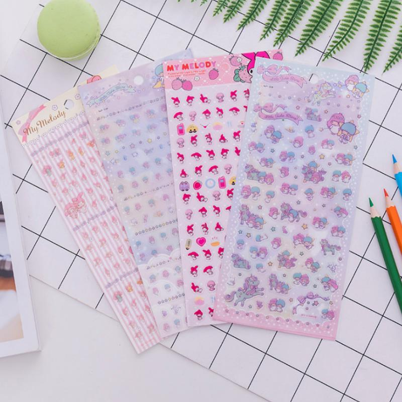 1 Sheets Cute My Melody Little Twin Stars Decor PVC Stickers DIY Planner Diary Scrapbook Index Phone Album Stickers Toys Gift