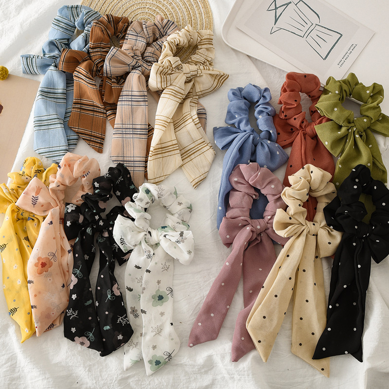 Women Girl Elastic Chiffon Rubber Band Ponytail Holder Floral Striped Ribbon Bow Hair Band Rope Scrunchie Knotted Hair Accessory