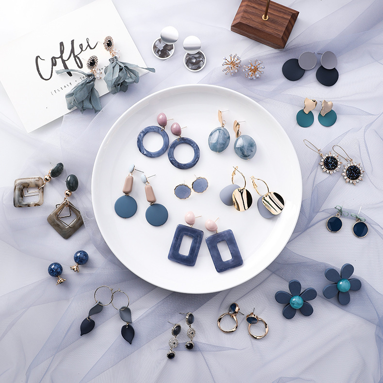 Hb2d8c425e268419f8235c83d86710ed5D - Summer Blue Geometric Acrylic Irregular Hollow Circle Round Square Drop Earrings for Women Metal Bump Party Beach Jewelry