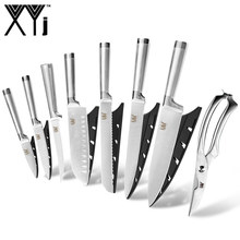 "XYj Stainless Steel Knife Set Hot Sale Straight Handle Kitchen Knife 8"" 7"" 6"" 5"" 3.5"" inch And Knife Holder Chicket Bone Scissor(China)"