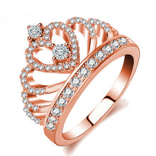 HNSP Luxury Rose Gold Crown ring for women Crystal zircon finger jewelry Female Rings Anel(China)