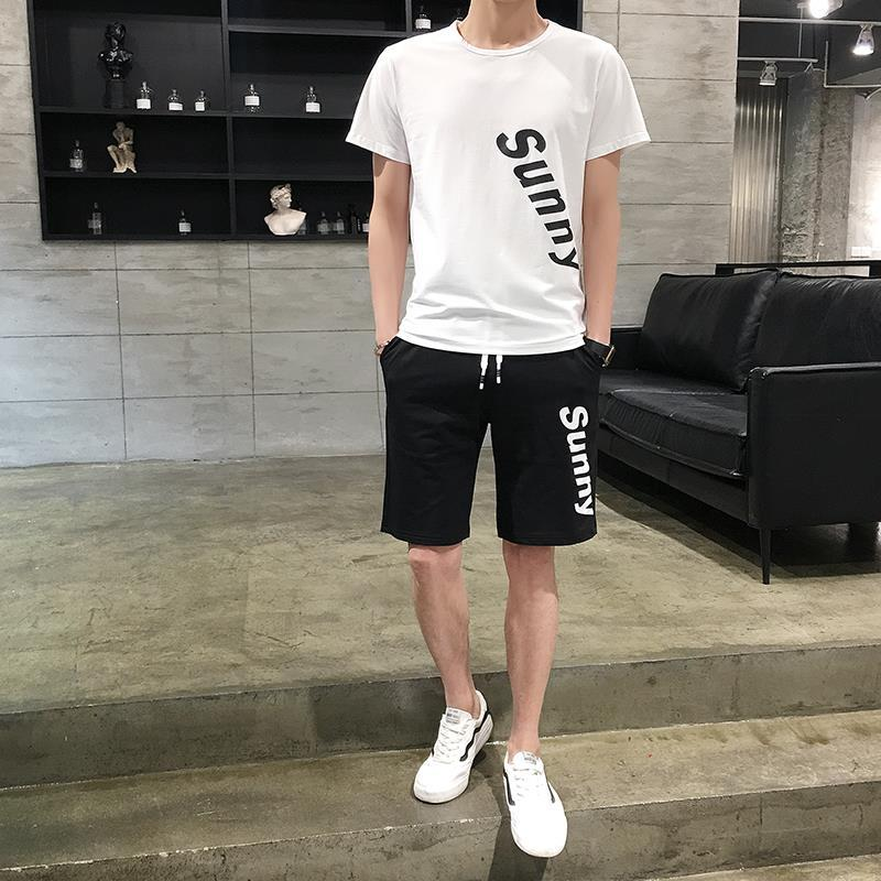 New Style 2019 Spring MEN'S Casual Suit Shorts Short-sleeve Pullover Youth Popularity Crew Neck Not Hooded