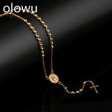 цена olowu Rosary Necklace For Women Long Chain Stainless Steel Religious Madonna Coin Cross Pendant Necklaces Jewelry онлайн в 2017 году