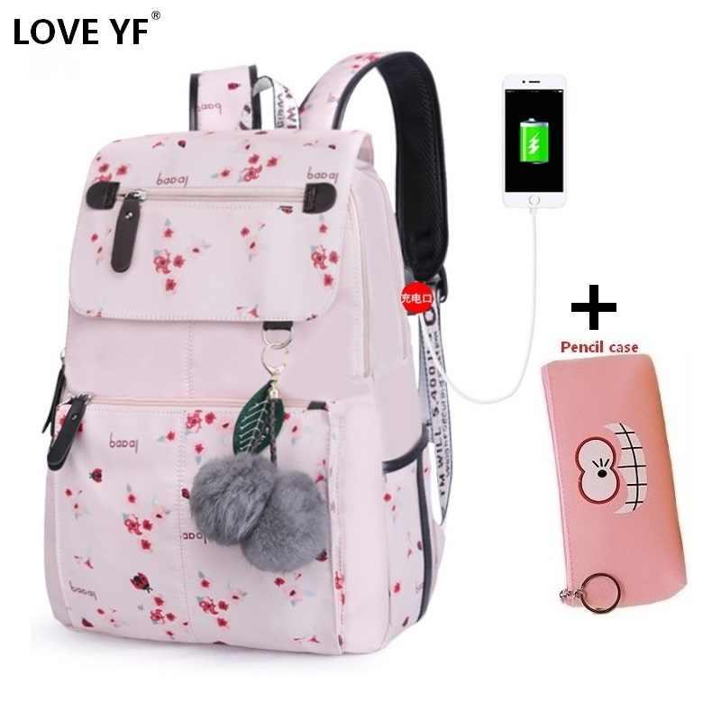 Kadınsı sırt çantaları seyahat çantası hafif ve yumuşak 2019 yeni bayan usb su geçirmez dizüstü okul çantaları mochilas cuadradas