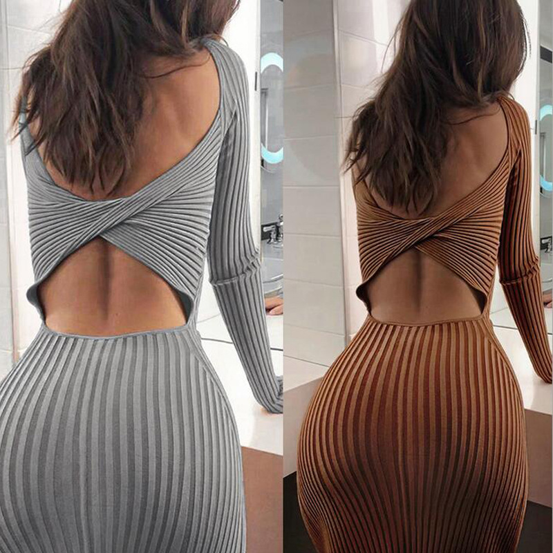 Womens Knitted Sweaters Open Back Dress Long Sleeve Double Round Neck Tight Dress Autumn Party Dresses Ladies Knitted Mini Dress
