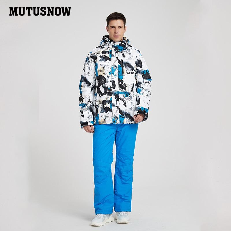 MUTUSNOW 2019 New Outdoor Ski Suit Men Windproof Waterproof Thermal Snowboard Set Snow Male Ski Jackets Brands And Pants Skiwear