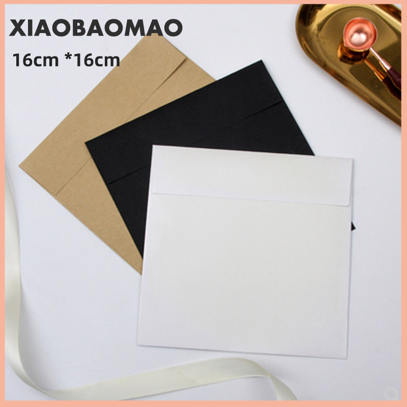 10pcs Pearl Paper Square Envelope Red European-Style Wedding Invitation Gift Envelope Black / White / Brown 16 * 16cm