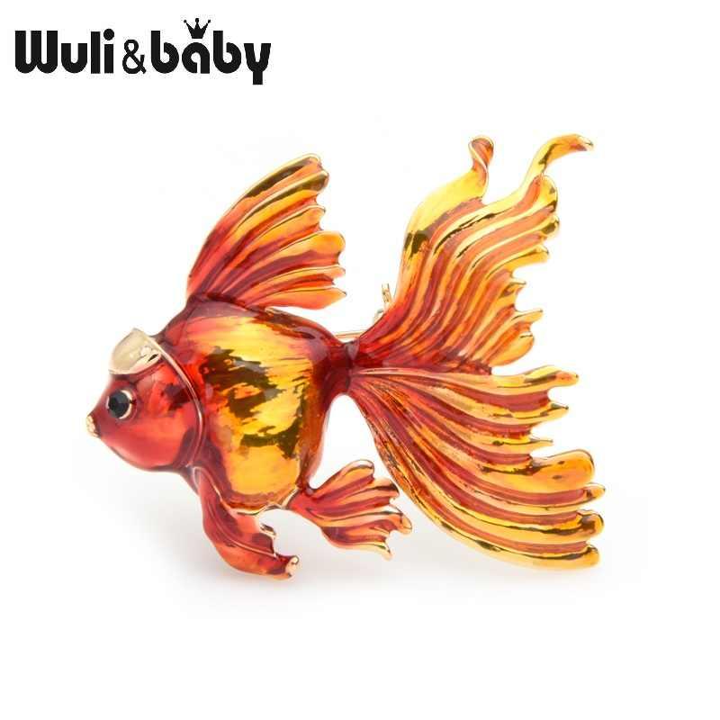 Wuli Bayi 3 Warna Ikan Mas Bros Wanita Biru Merah Oranye Ikan Enamel Perjamuan Bros Pin Ibu Hadiah