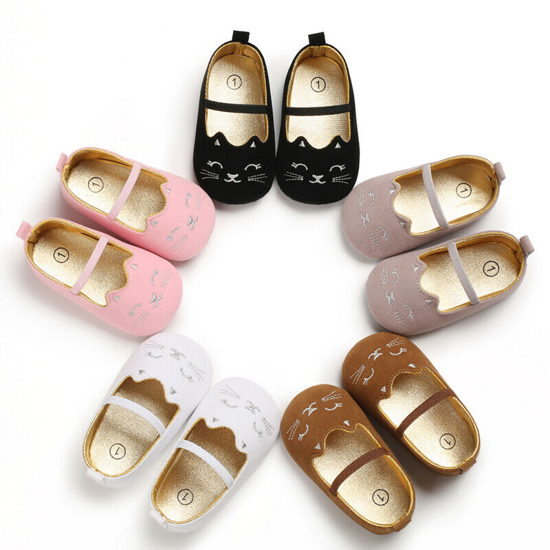 Cartooon Newborn Infant Baby Girl Soft Shoes  Princess Cat Pattern First Walkers