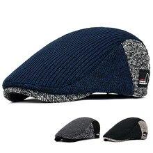 Мужские шапки Newsboy, толстая осенне-зимняя винтажная Кепка с узором в елочку, восьмиугольная кепка, Повседневные вязаные береты в стиле Гэтсб...