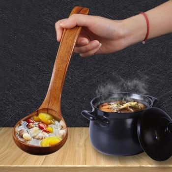 1PC Kitchen Long Handle Wooden Spoon Dessert Rice Soup Teaspoon Cooking Spoons Wood Accessories Home Gadgets