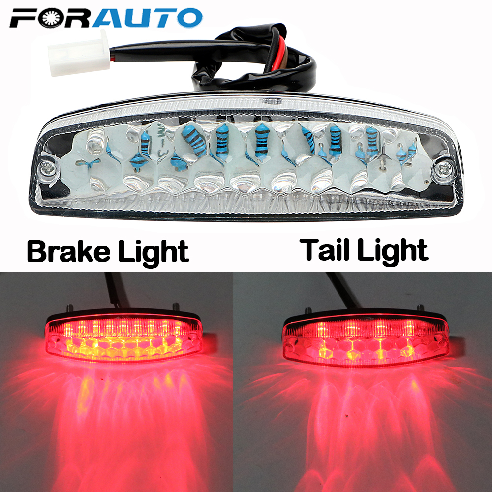 FORAUTO LED Rear Lights Motorcycle Lighting Moto Tail Brake Light Indicator Lamp Motorcycle Accessories For ATV Quad Kart
