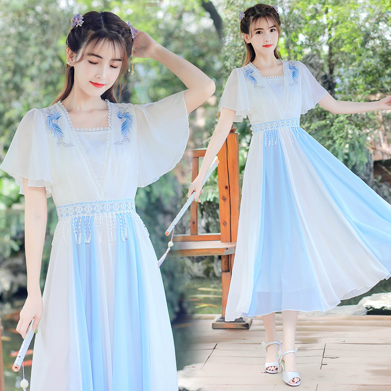 Hanfu Dress Ancient Chinese Qipao Modern Hanfu Chinese Dress Women Short Sleeve Chiffon Dress Cheongsam Qipao Dress