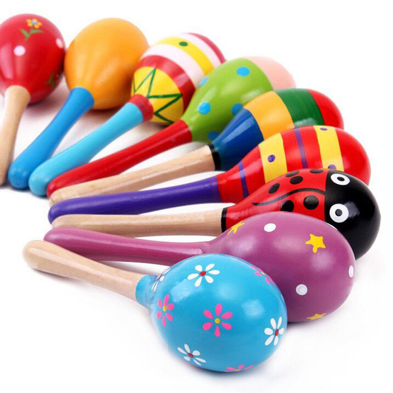 Baby Wooden Sand Hammer Wireless Instrument Toys Early Education Tool Rattle Musical Instrument Percussion Gifts For Boys Girls