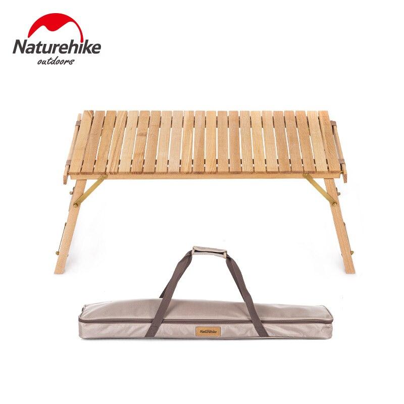 naturehike ao ar livre dobravel mesa de rolo ovo cinza mesa de madeira macica 40kg rolamento