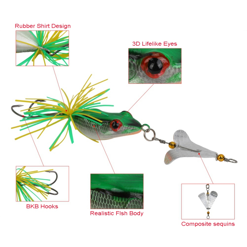 1PCS Fishing Lure With Propeller Large Noise Isca Frogs Lure  Pesca Frogs Sinking Snakehead  Fishing Bait 135mm 9g ZJ 1