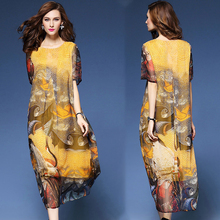 Spring and summer new style Large size M-3XL Ethnic womens loose printed dress Mid-length chiffon