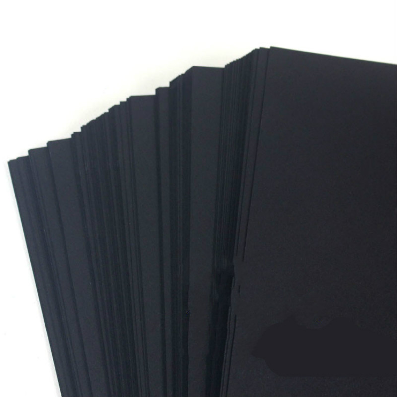 A3 A4 Black Craft Paper Pure Wood Pulp Black Cardboard Paper DIY Upscale Children Handmade Copy Paper Sketch Paper Painting 80g