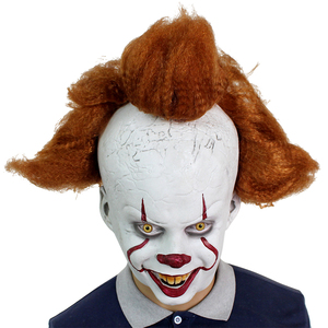 Image 2 - 2019 Movie Stephen Kings It Pennywise Cosplay Mask Latex Halloween Scary Masks Funny Clown Party Mask with Hair Costume Props