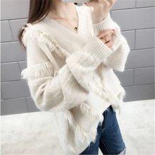 Fresh Fairy Wind Sweater Girl Long Sleeve 2019 Autumn Winter New Tassel Show Thin V Collar Clothes Womens Wear