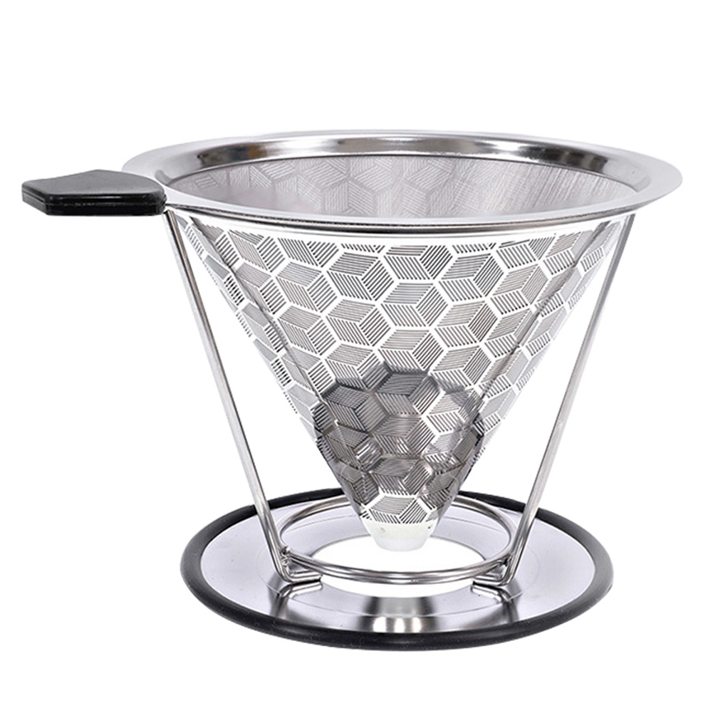 Stainless Steel Coffee Filter Reusable Pour Over Coffee Filter Cone Coffee Dripper with Removable Cup Stand  E2S