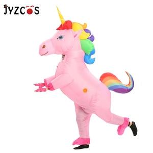 Image 3 - JYZCOS Costume licorne gonflable pour adultes et enfants, Costumes dhalloween arc en ciel, pour femmes et hommes, mascotte de carnaval, purine, Cosplay de noël