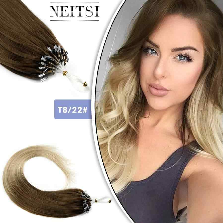 "Neitsi Loop Micro Ring Machine Made Remy Hair Extension 100% Human Hair Straight Ombre Piano Color Micro Links 20"" 50cm 1g/s 50g"