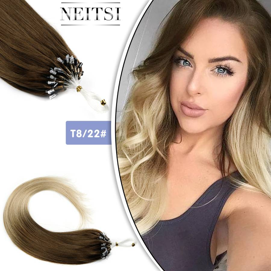"""Neitsi Loop Micro Ring Machine Made Remy Hair Extension 100% Human Hair Straight Ombre Piano Color Micro Links 20"""" 50cm 1g/s 50g"""