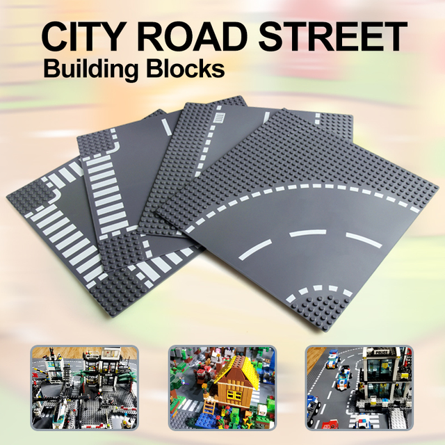 City Road Street Baseplate Straight Crossroad Curve T Junction Building Blocks 7280 7281 Base Plate compatible LegoINGlys City