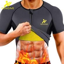 NINGMI Men Sports Top Body Shaper Slimming Waist Trainer Running Vest Neoprene Sauna Suit Shapewear Gym Shirts Breathable Jacket