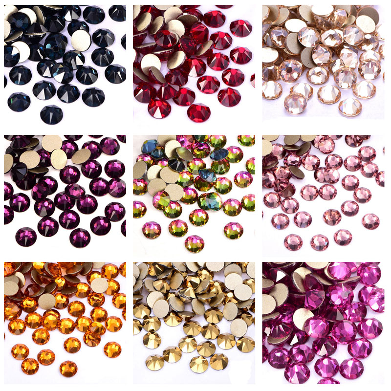 144pcs Colorful Top Quality Nail Rhinestone Glitter Glass Flatback Crystal Non Hot Fix Rhinestones Nail Art Decorations  Y3733