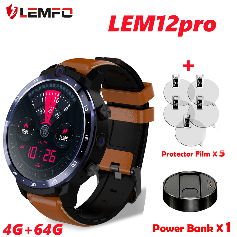 LEMFO Smart Watch Men LEM12 Pro 4G  64 GB GPS 1 6 inch Display With Bank Power WIFI Camera Music Smart Watch 1800mah Battery