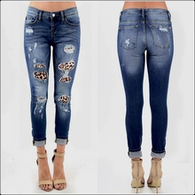 Female Stretch Ripped Navy Blue Skinny Jeans Sexy Leopard Destroyed Hole Patchwork Slim Washed Denim Pants Casual Pencil Trouser women jeans denim 2016 fall spring denim pants fashion washed blue slim hole ripped jeans ladies cotton stretch skinny pants