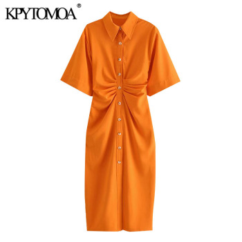 KPYTOMOA Women 2020 Chic Fashion Button-up Draped Midi Shirt Dress Vintage Short Sleeve Side Zipper Female Dresses Vestidos 1