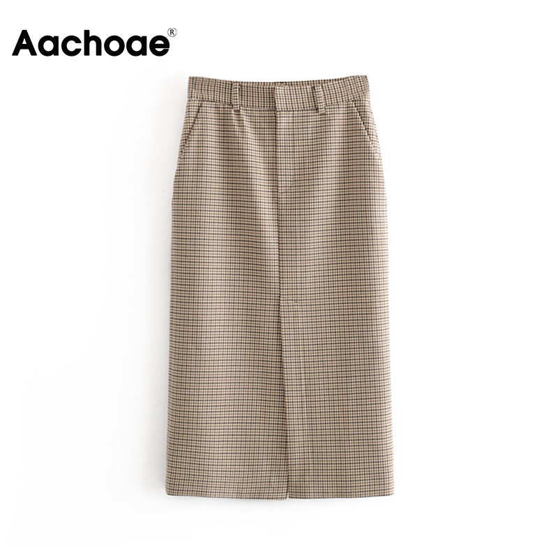Vintage High Waist Women Plaid Pencil Skirt Spring Split Midi-long Skirts For Women Casual Pockets Zipper Female Office Skirt