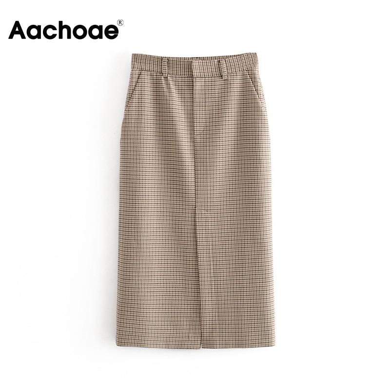 Vintage High Waist Women Plaid Pencil Skirt Spring Split Midi-long Skirts For Women Casual Pockets Zipper Female Office Skirt