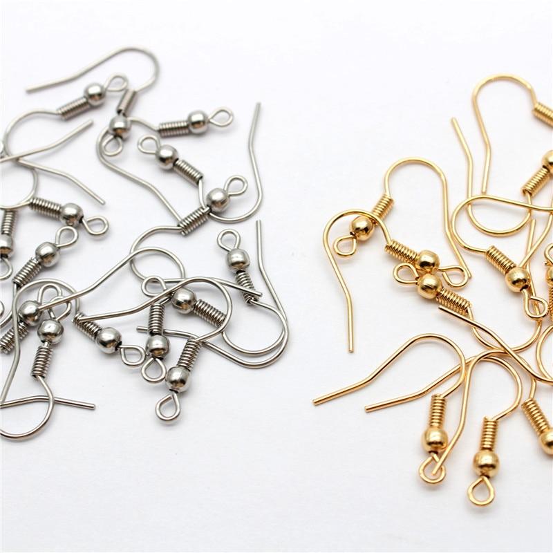 50 pçs 316 de aço inoxidável brinco hipoalergênico ganchos peixe earwire com bobina e bola para fazer jóias 20x20mm