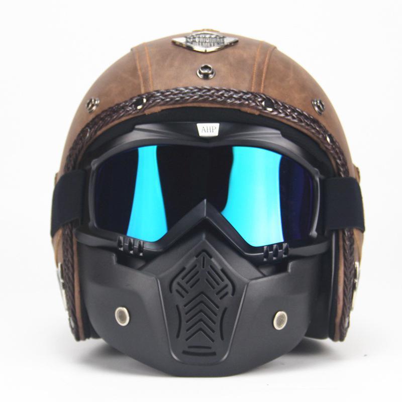 Unisexe PU cuir casques 3/4 moto Chopper casque de vélo visage ouvert Vintage moto casque avec masque de lunettes