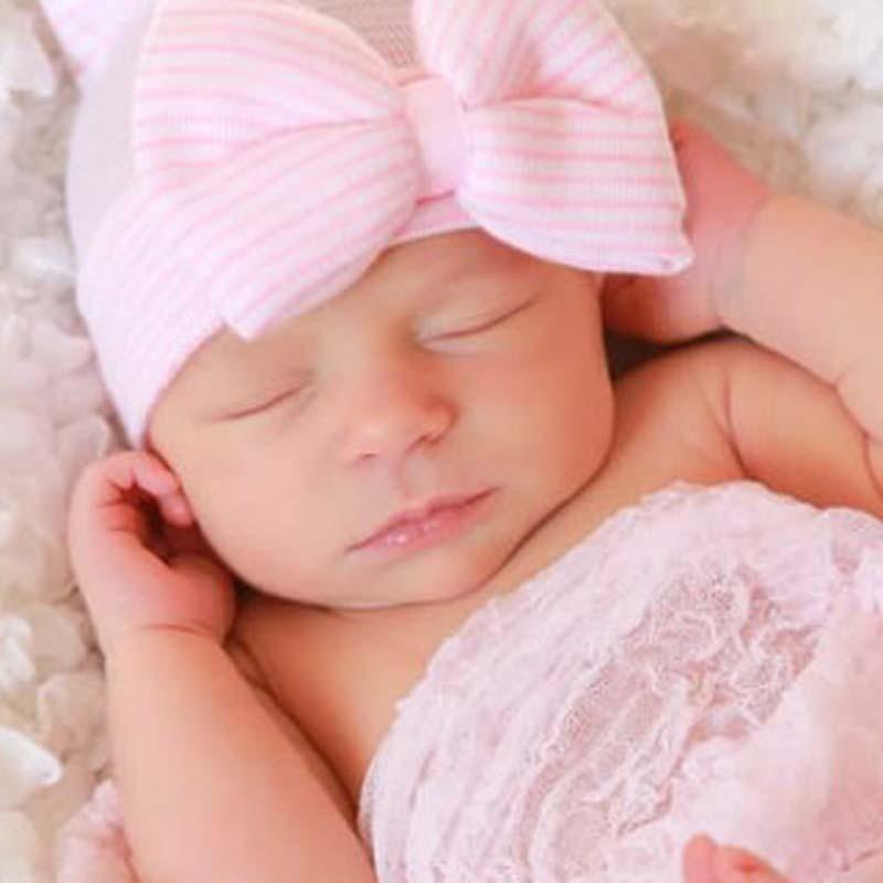 Newborn Toddler Kids Baby Knitting Cap Floral Bowknot Winter Warm Hat Head Wrap