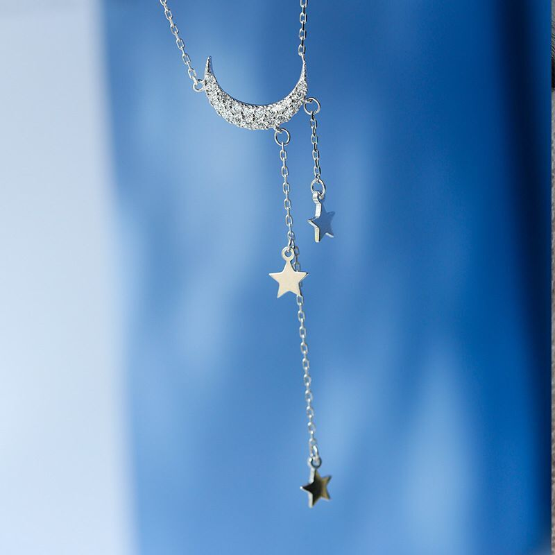 2020 New Fashion Moon And Stars 925 Sterling Silver Necklaces For Girl Lovers Love Party Gift Jewelry Bulk Sell Moonso X5731