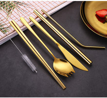 Gold Cutlery Set Fork Knife Spoon Set with  Eco-friendly Straw Tableware Set Portable Stainless Steel Cutlery for Travel Camping portable bamboo korean cutlery set wooden tableware knife fork spoon set with eco friendly bamboo straw for travel cutlery set