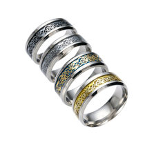 Stainless Steel Titanium Steel Dragon Ring With Silver Golden Dragon Stainless Steel Ring women Couple Ring Accessorie #w3(China)