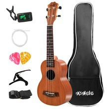 21 pouces ukulélé Soprano Sapele Uke 15 frettes 21 pouces Hawaii Mini guitare Kits complets ukulélé guitare pour enfants débutants