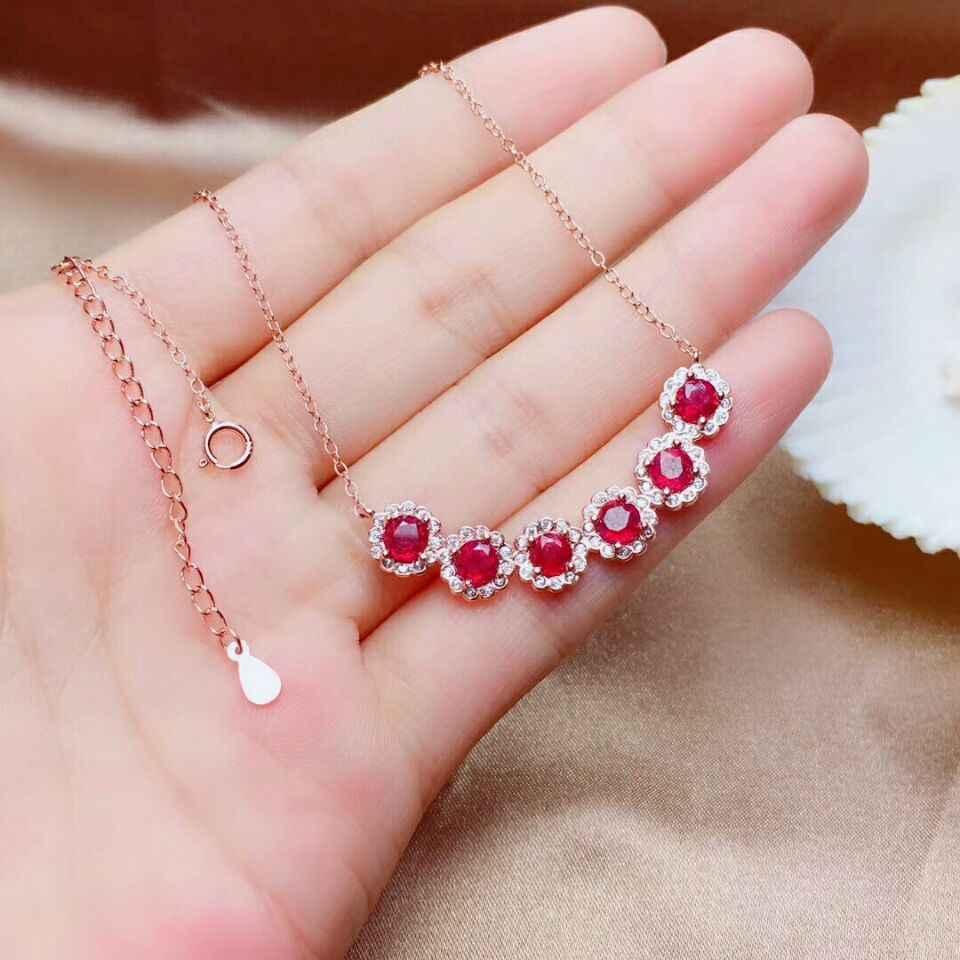 MeiBaPJ ธรรมชาติพลอยทับทิมชุดสร้อยข้อมือเงิน 925 แหวนจี้สร้อยคอ 3 ชิ้นชุด Fine เครื่องประดับสำหรับผู้หญิง