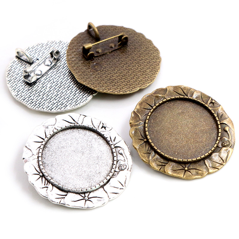 New Fashion 5pcs 25mm Inner Size Antique Silver Plated Bronze Brooch Flowers Style Cameo Cabochon Base Setting