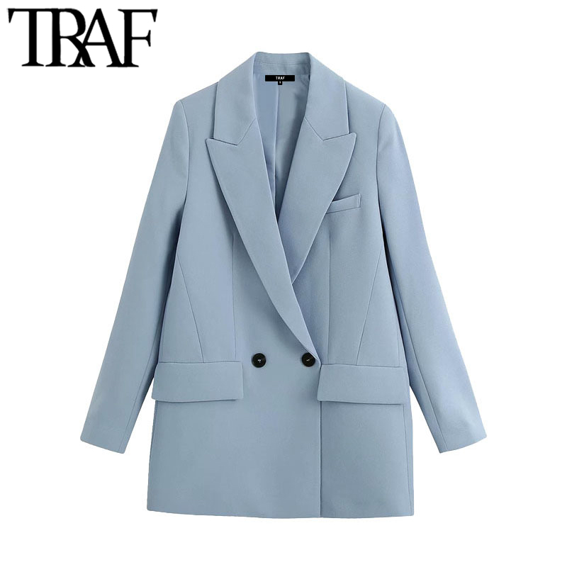 TRAF Women Fashion Office Wear Double Breasted Blazers Coat Vintage Pockets Loose Fitting Female Outerwear Chic Tops