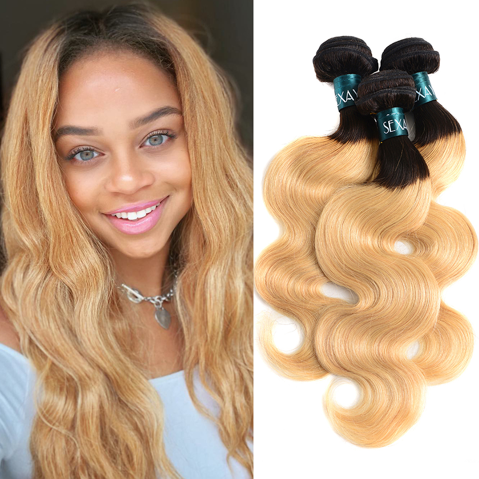 Sexay Bleach Blonde Ombre Human Hair 3 Bundles One Pack Dark Roots T1B/27 Pre-Colored Ombre Peruvian Body Wave Human Hair Weave